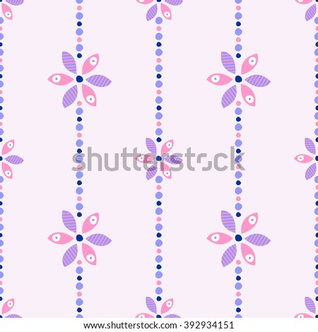 Seamless floral raster pattern. Ornamental background with flowers. Decorative repeating ornament, Series of Floral and Decorative Seamless Pattern. - stock photo