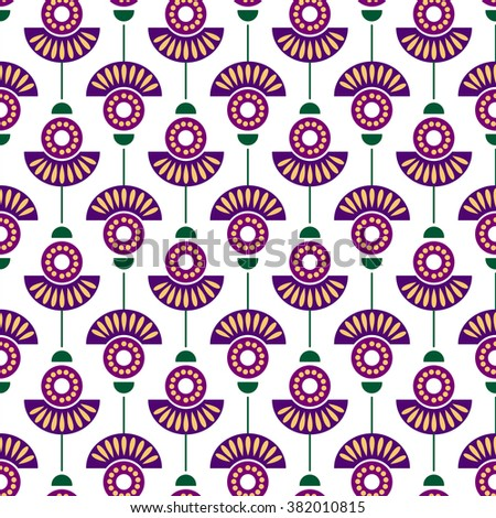 Seamless floral raster pattern. Symmetrical colorful ornamental background with flowers. Decorative repeating ornament, Series of Floral and Decorative Seamless Pattern. - stock photo