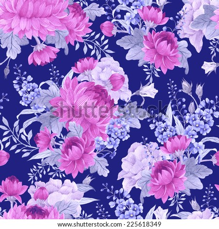 Seamless floral roses with chrysanthemum and delphinium , watercolor - stock photo