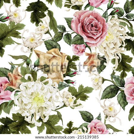 Seamless floral roses with chrysanthemum and peonies on light background, watercolor - stock photo