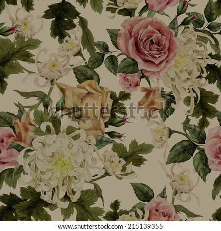 Seamless floral roses with chrysanthemum and roses, watercolor - stock photo