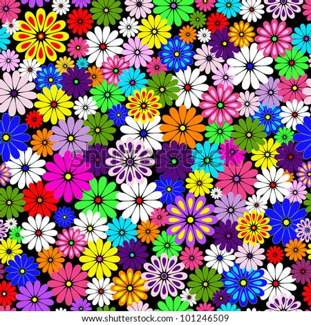Seamless floral vivid pattern with colorful flowers on black - stock photo