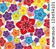 seamless floral wallpaper. - stock photo