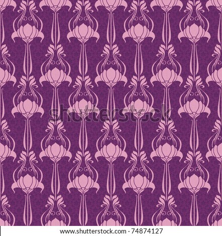 Seamless floral wallpaper in  pink and violet - stock photo