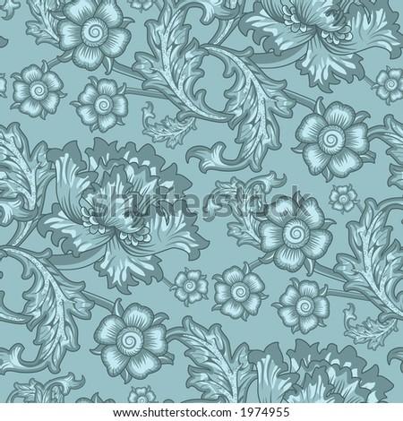 Seamless floral wallpaper pattern - stock photo