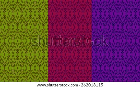 Seamless Floral Wallpaper Pattern in red green and purple - stock photo