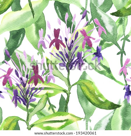Seamless floral watercolor ornament - stock photo