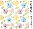 Seamless floral watercolor pattern - stock vector