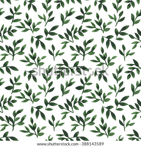 seamless floral watercolor pattern - stock photo