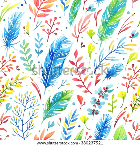 Seamless floral watercolor pattern with feathers - stock photo