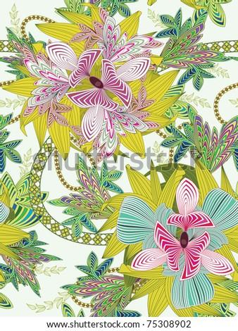 Seamless flower background - stock photo