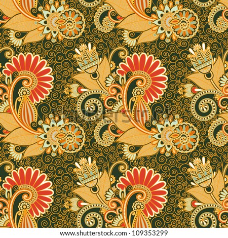 seamless flower paisley design background . Raster version