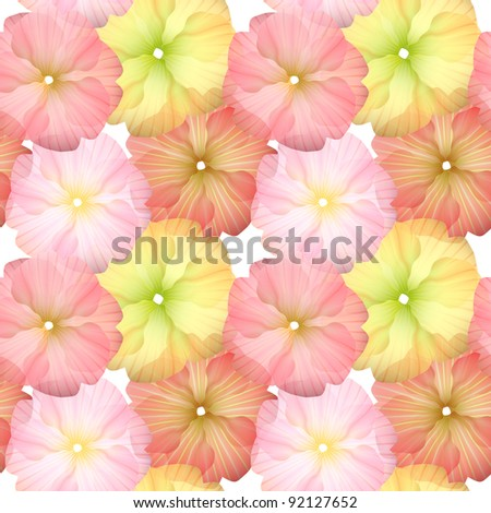 Seamless Flower Pattern for beautiful wallpapers on white - stock photo