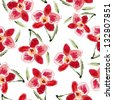 seamless flower pattern with orchids - stock photo