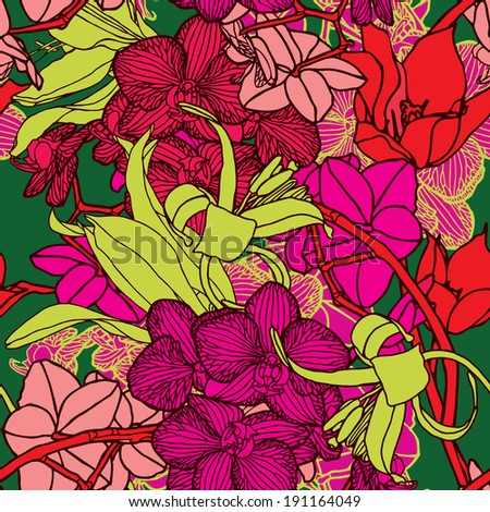 seamless flower pattern with orchids and ornament - stock photo