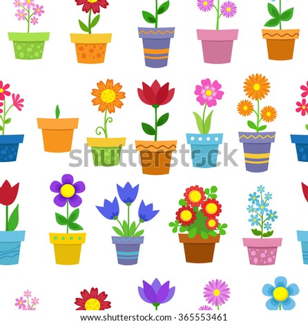 Seamless flowers in pots background pattern. Raster copy.
