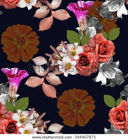 Seamless flowers; roses with lily and zinnia on Navy blue background, mixed vintage - stock photo