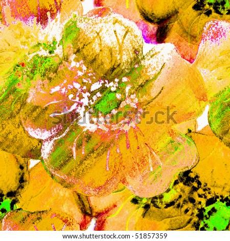 Seamless Flowers Watercolor Art - stock photo