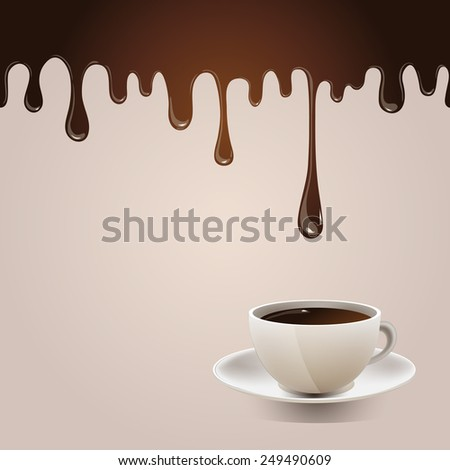 Seamless flowing melted chocolate with cup. Delicious background with hot chocolate and realistic cup. Culinary illustration. - stock photo