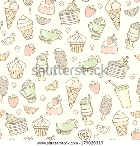 Seamless food background with sweets, ice-cream, cake and coffee - stock photo