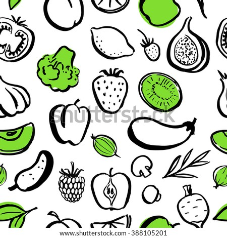 Seamless food pattern. Handwritten food elements with rough edges. Healthy food, farm, fresh, vegan, natural, product, bio. Green market. Ink brush. Fruits, berries and vegetables. Icon.
