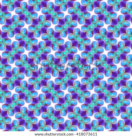 Seamless fractal pattern, blue-azure. Abstract bright wall-paper, a print for fabric, decorative textiles, packing paper, etc. - stock photo