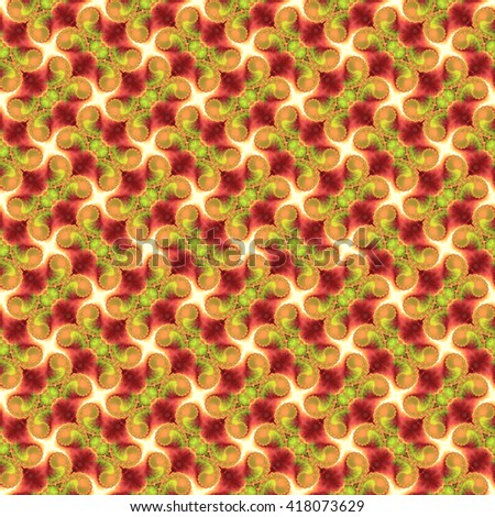 Seamless fractal pattern, lime and coral. Abstract bright wall-paper, a print for fabric, decorative textiles, packing paper, etc. - stock photo