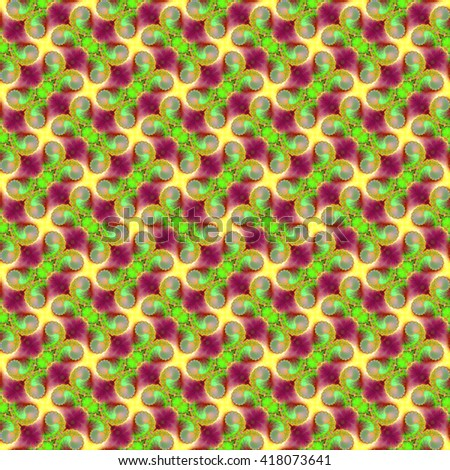 Seamless fractal pattern, violet-green. Abstract bright wall-paper, a print for fabric, decorative textiles, packing paper, etc. - stock photo