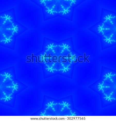 Seamless fractal snowflakes on the light blue background for winter texture or design - stock photo