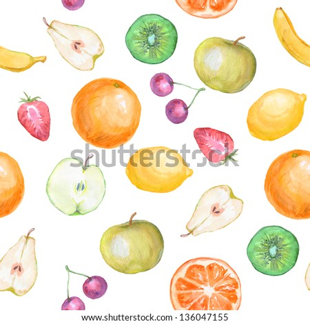 seamless fruit background watercolor - stock photo