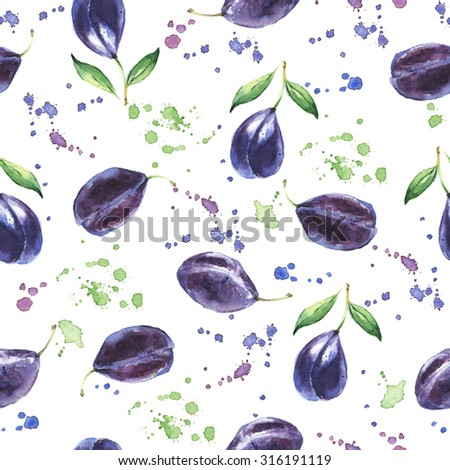 Seamless fruit pattern with Plum, Watercolor painting - stock photo