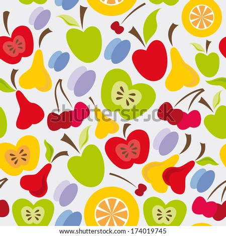 stock photo seamless fruits pattern with apple pear cherry plum and orange 174019745 - Каталог — Фотообои «Еда, фрукты, для кухни»