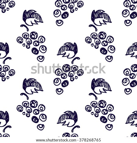Seamless fruits raster pattern, bright background with close up grape on the white backdrop. Hand sketch drawing. Imitation of ink drawing. Series of Fruits and Hand Drawn Patterns. - stock photo