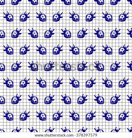 Seamless fruits raster pattern, bright background with close up strawberries on the checkered paper. Hand sketch drawing. Imitation of ink drawing. Series of Fruits and Hand Drawn Patterns. - stock photo