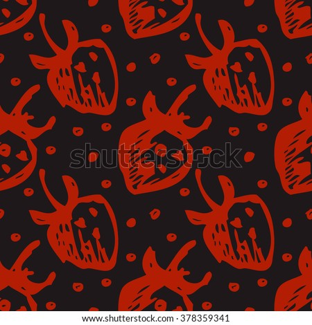 Seamless fruits raster pattern, bright background with close up strawberries on the dark backdrop. Hand sketch drawing. Series of Fruits and Hand Drawn Patterns. - stock photo