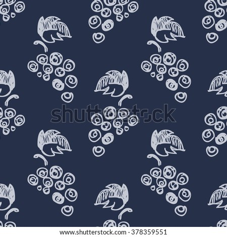 Seamless fruits raster pattern, bright background with  grape on the blue backdrop. Hand sketch drawing. Series of Fruits and Hand Drawn Patterns. - stock photo