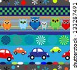 Seamless fun stripes with cartoons owls and cars in blue, red and other little boy colors. - stock photo