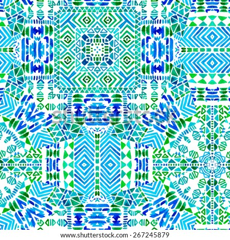 seamless geometric ethnic pattern with with kaleidoscope mosaic look. mixed textures in one symmetrical design. very rich geometric latin tiling pattern - stock photo