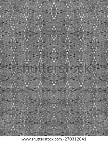 Seamless geometric pattern, black fabric texture background - stock photo