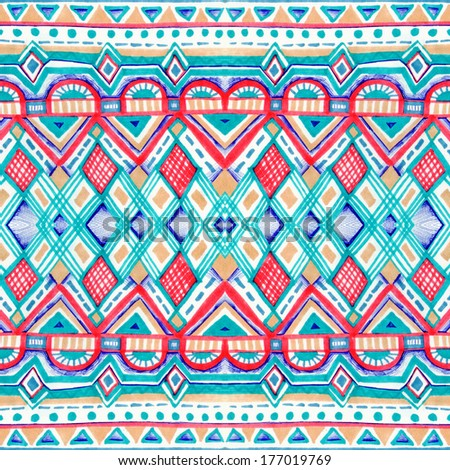 Seamless geometric pattern in aztec style. Tribal ethnic texture. Raster illustration hand drawn.