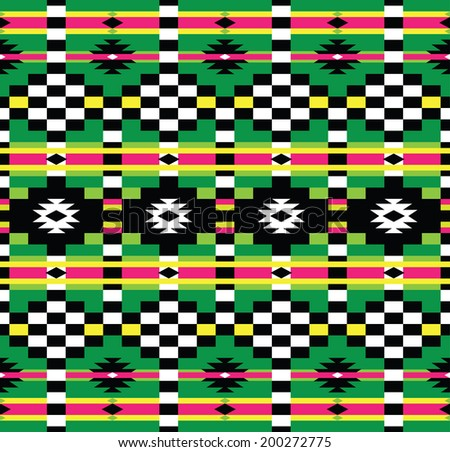 Seamless geometric pattern in ethnic style  - stock photo