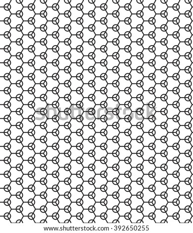 Seamless geometric pattern of the hexagons and rings elements - stock photo
