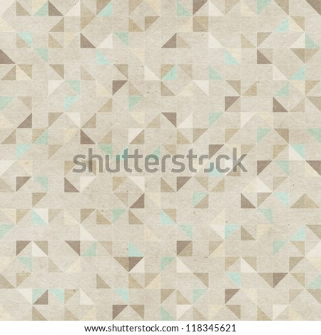 Seamless geometric pattern on paper texture - stock photo