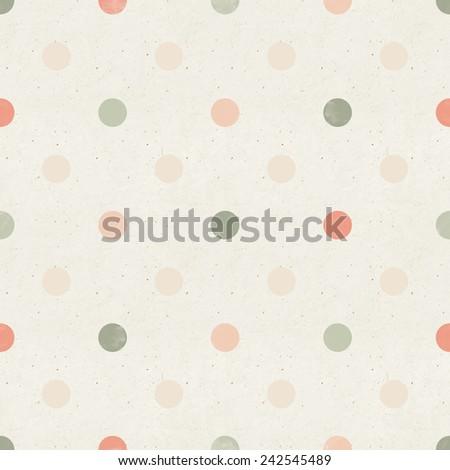 Seamless geometric pattern on paper texture. Polka dots background - stock photo