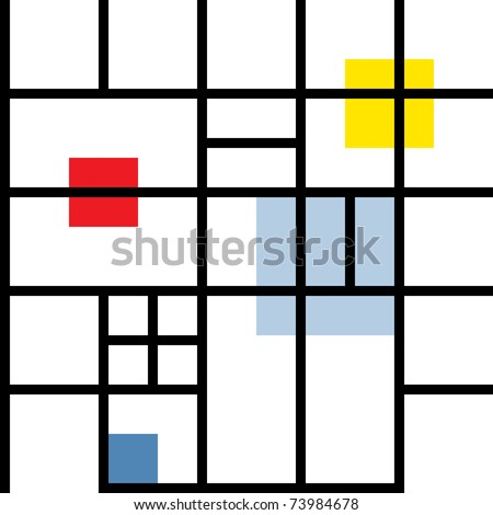 Seamless geometric suprematism pattern in style neo-plasticism abstract art. Bitmap copy my vector ID: 73692730 - stock photo
