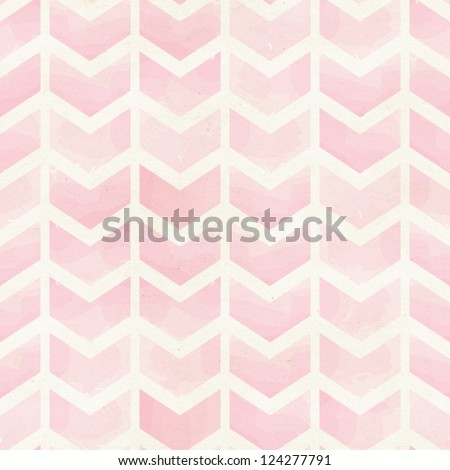 Seamless geometric watercolor chevron pattern on paper texture - stock photo