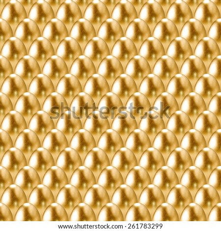 Seamless golden eggs background. - stock photo