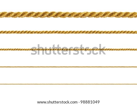 Seamless golden rope isolated on white background for continuous replicate. - stock photo