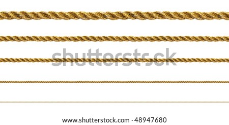 Seamless golden rope on white background (isolated). - stock photo