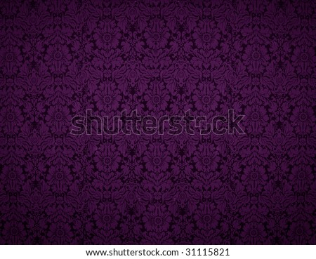 Seamless Gothic Damask violet wallpaper background - stock photo